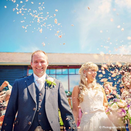 Sunny Wedding Ceremony - Confetti Throwing