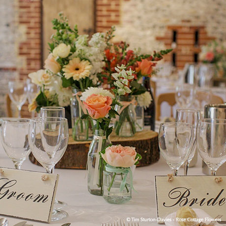 Wedding Receptions - Upwaltham Barns - © Tim Sturton-Davies - Rose Cottage Flowers