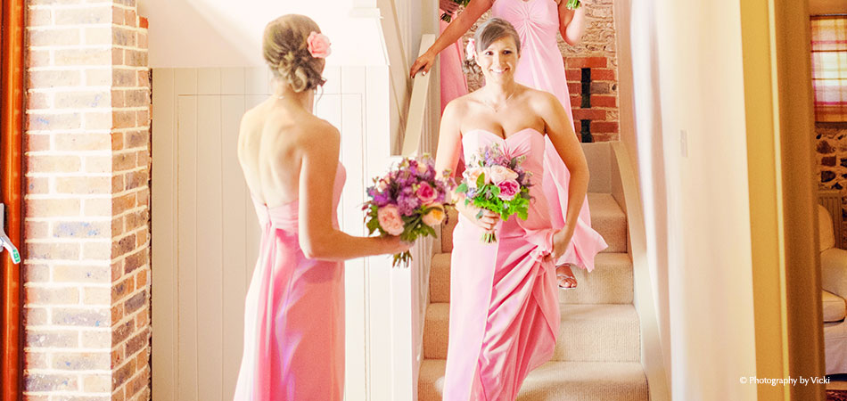 Pink Bridesmaids At Jasmine Cottage