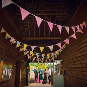 Hang wedding bunting at Upwaltham Barns wedding venue
