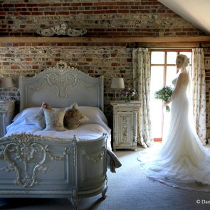 A bride prepares for her wedding ceremony in the Jasmine Cottage at Upwaltham Barns
