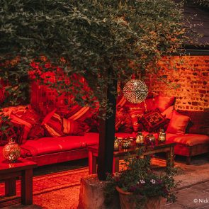 Wedding guests can relax in the Morrocan snug at Upwaltham Barns wedding venue in Sussex