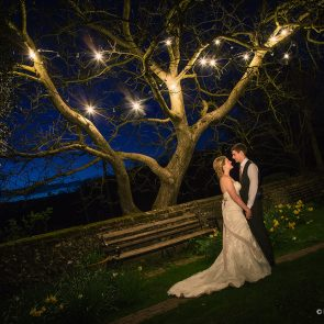 Newlyweds enjoy their wedding evening at Upwaltham Barns wedding venue in Sussex