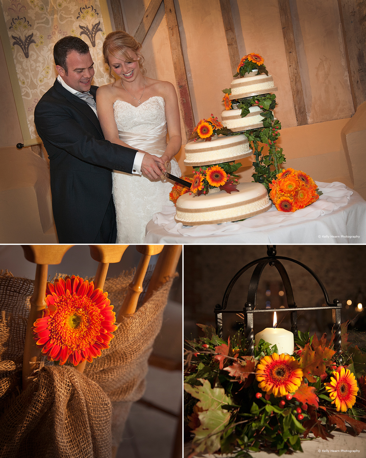 The beautiful cake and decor at Upwaltham Barns - © Kelly Hearn Photography