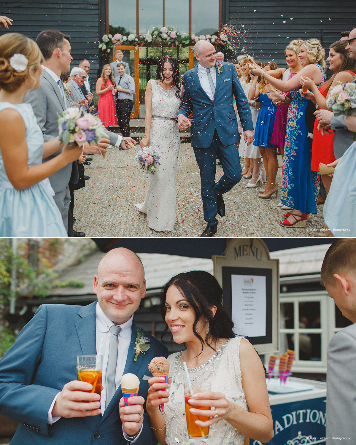 The bride and groom celebrating with ice cream at Upwaltham Barns - © Nicki Feltham Photography