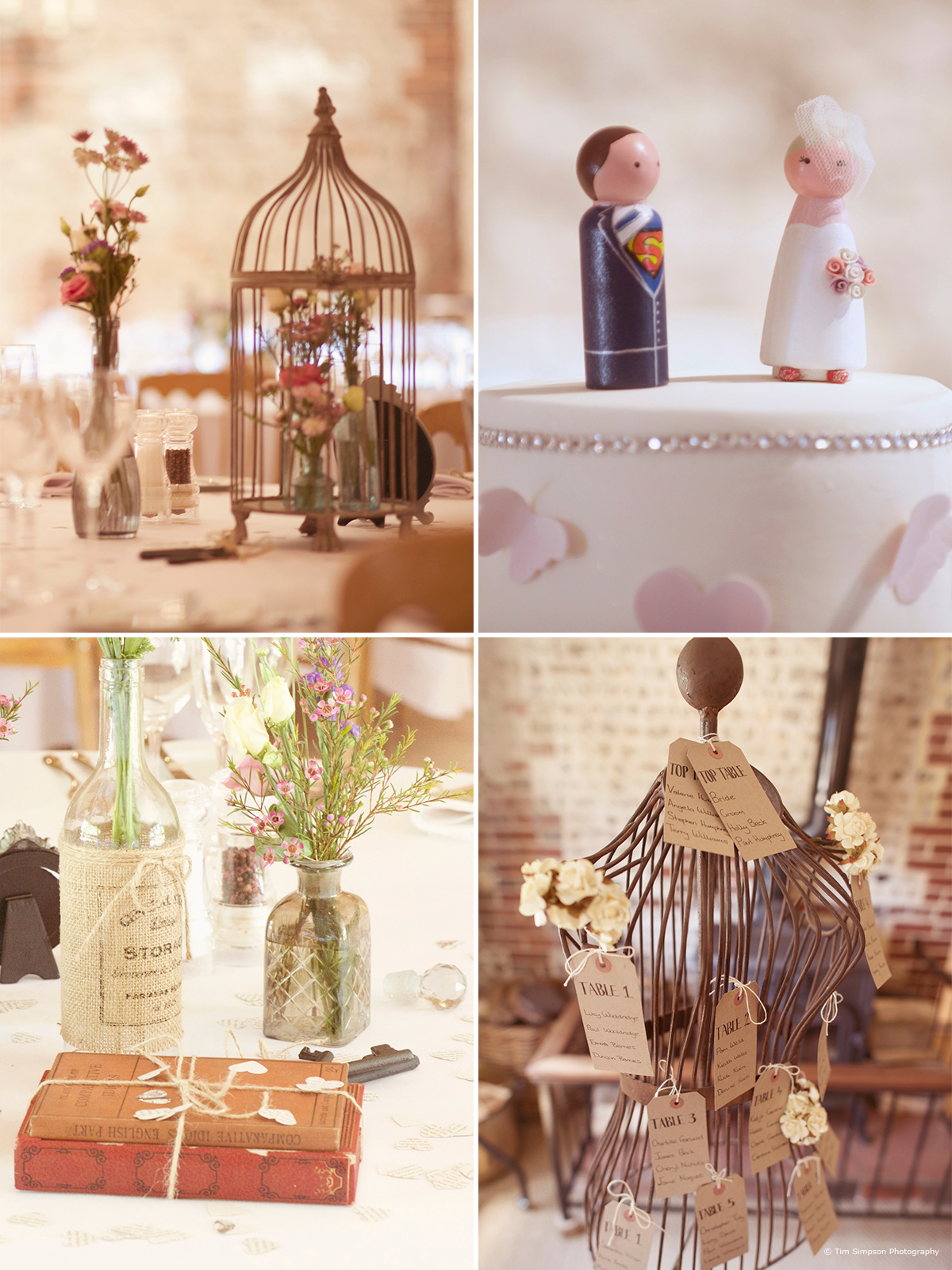 Beautiful wedding decor at Upwaltham Barns - © Tim Simpson Photography