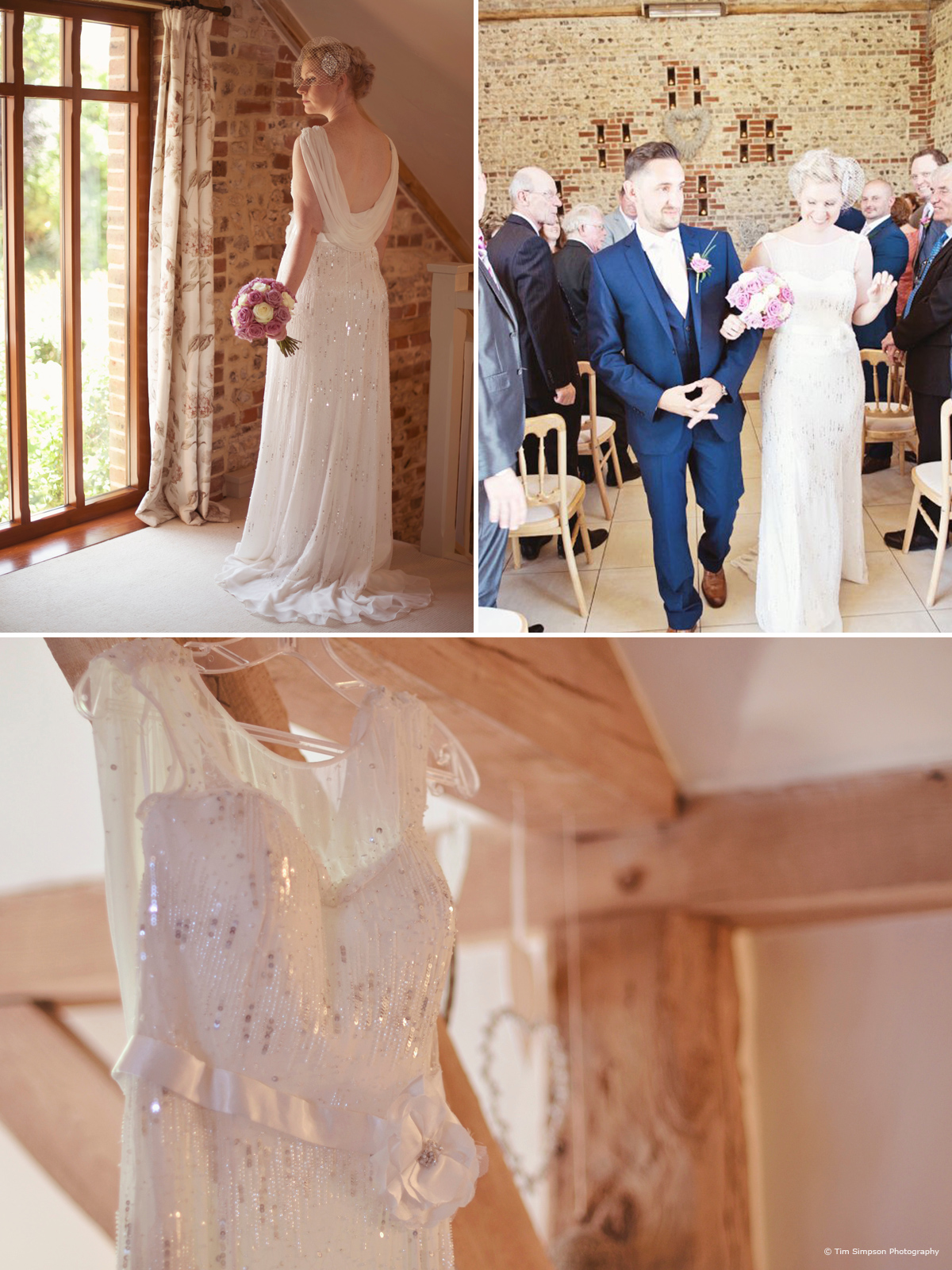 The brides stunning dress at Upwaltham Barns - © Tim Simpson Photography