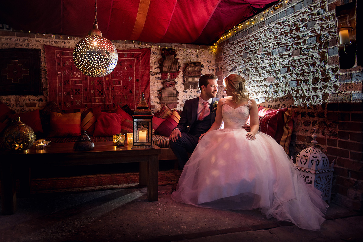 Autumn Wedding Ideas at Upwaltham Barns - Moroccan snug © Sara Reeve Photography
