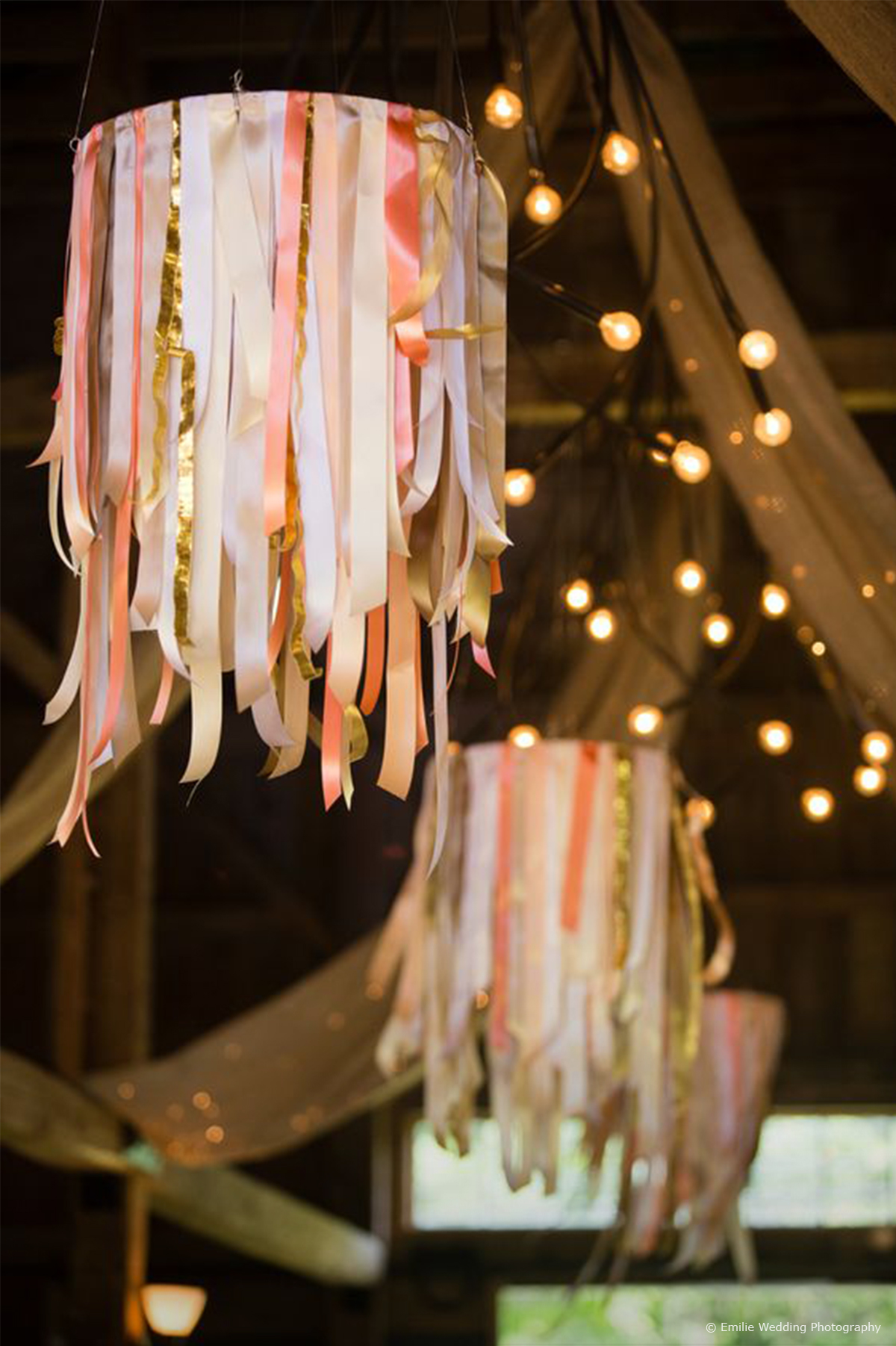 7 barn wedding decoration ideas for a spring wedding wedding ribbon chandeliers junglespirit Image collections