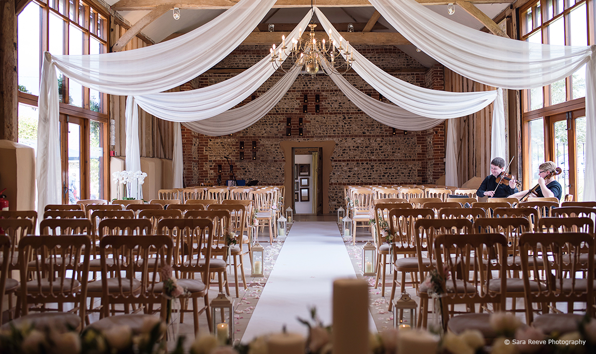 Hanging wedding drapes