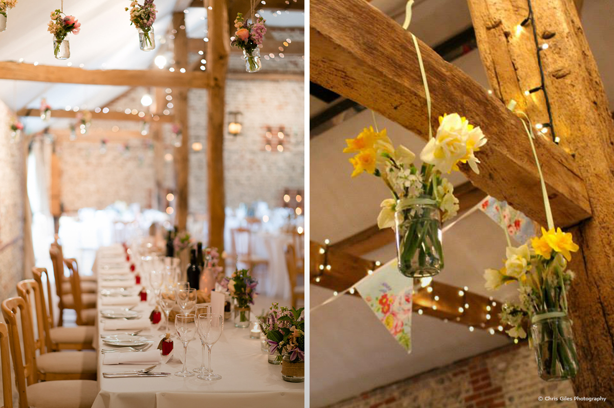 Flower table layouts at Upwaltham Barns