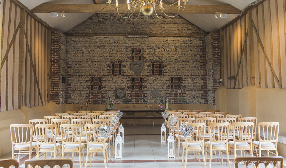 The venue ceremony room beth james Upwaltham Barns