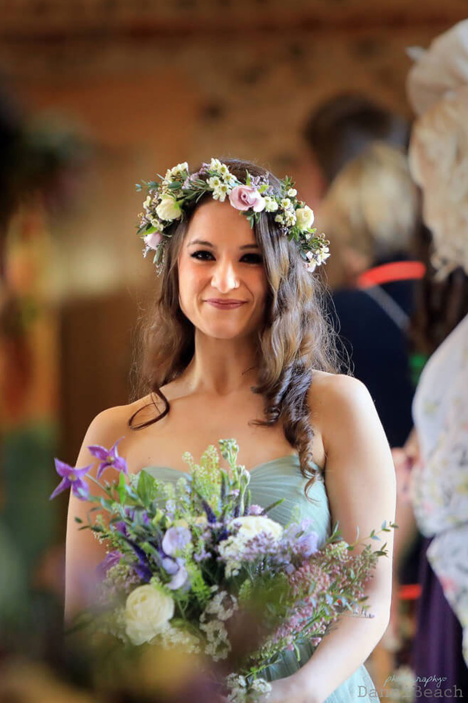 Bride on her wedding day at Upwaltham Barns