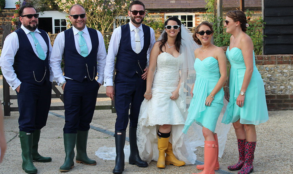 Rustic wedding ideas bride and groom wellies