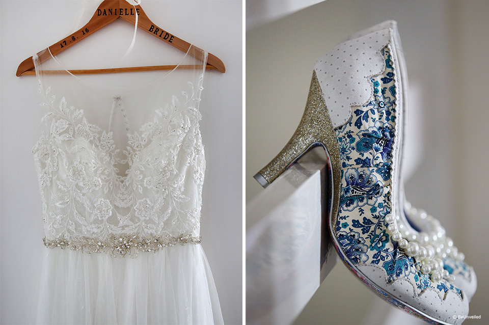 Brides wedding dress and white and blue heels