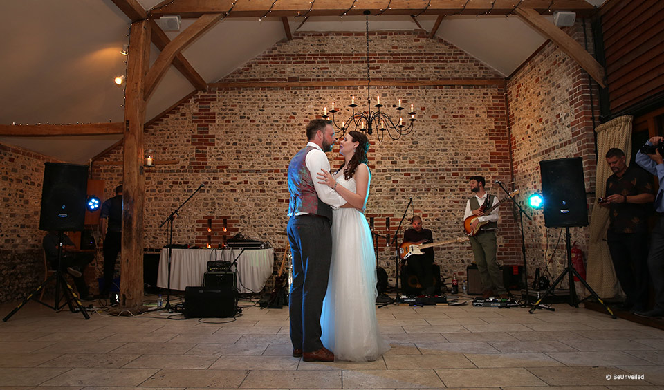 Bride and grooms first dance at Upwaltham Barns