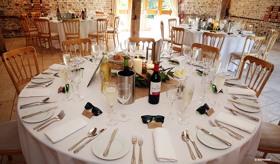 Table decorations and favours at Upwaltham Barns