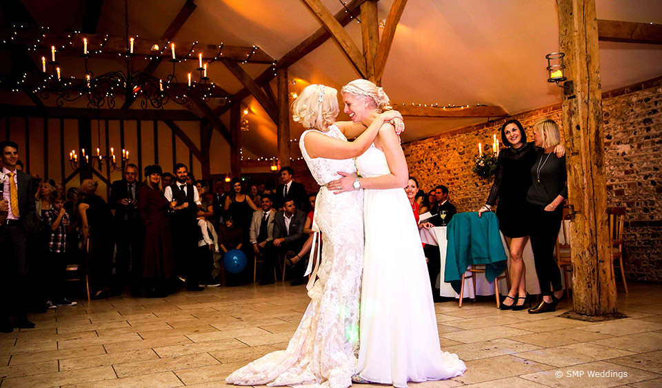 First dance at Hannah and Lauren's Upwaltham Barns Wedding © SMP Weddings