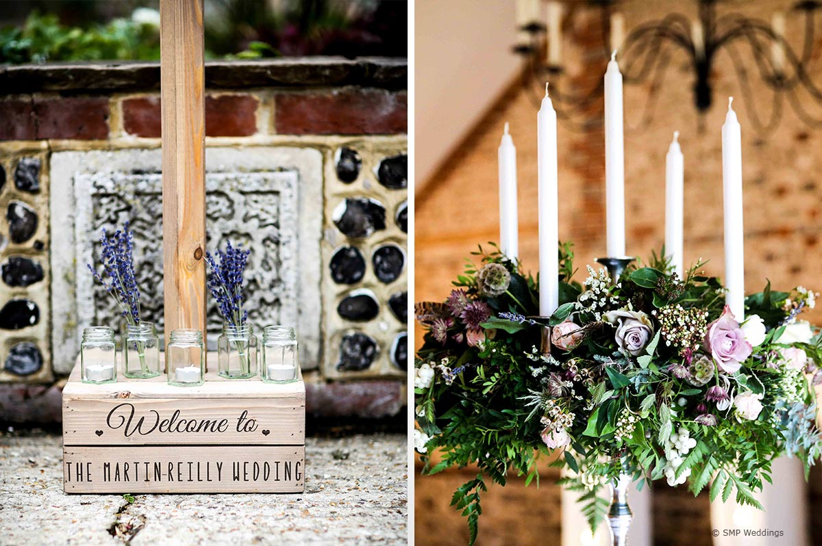 Lavender flowers at Hannah and Lauren's Upwaltham Barns Wedding © SMP Weddings