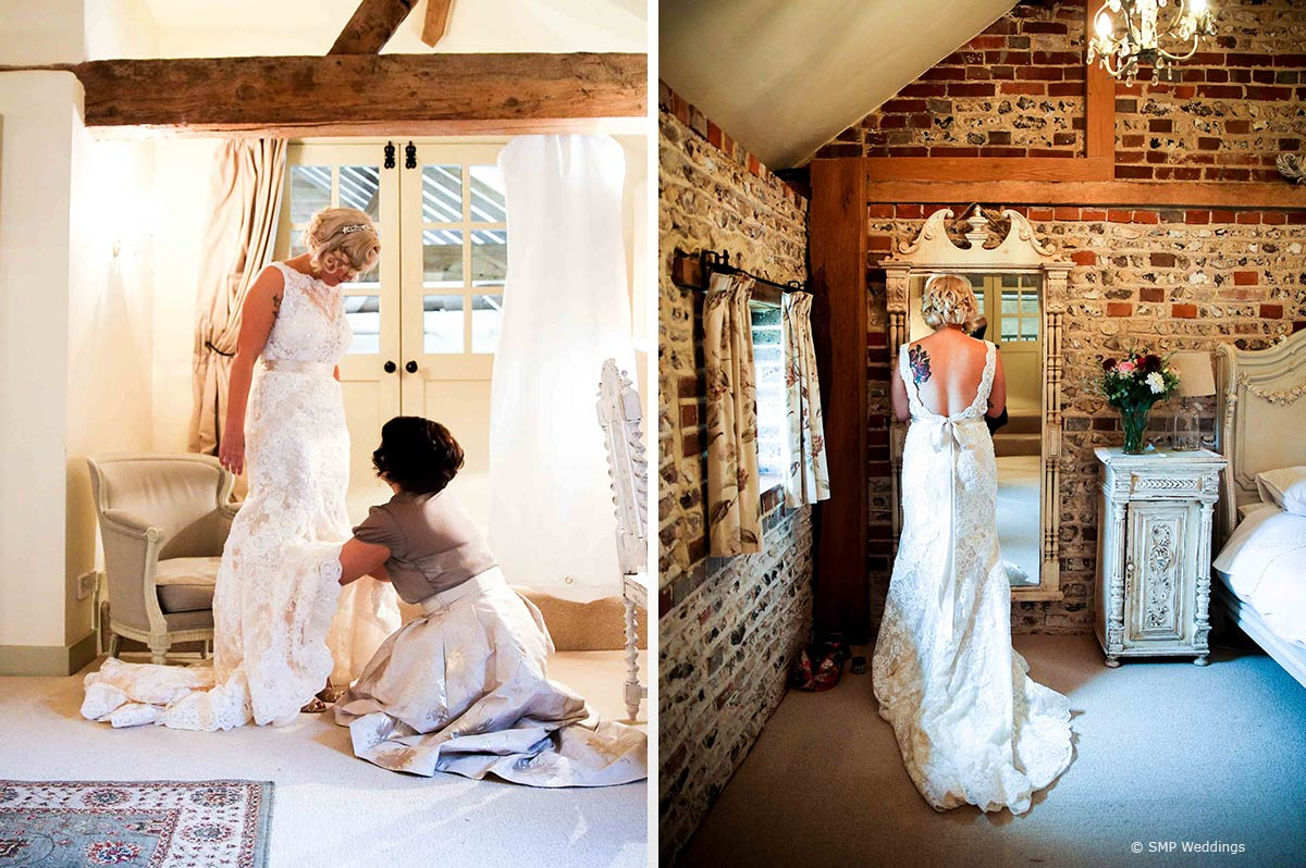 Hannah's dress at her Upwaltham Barns Wedding © SMP Weddings