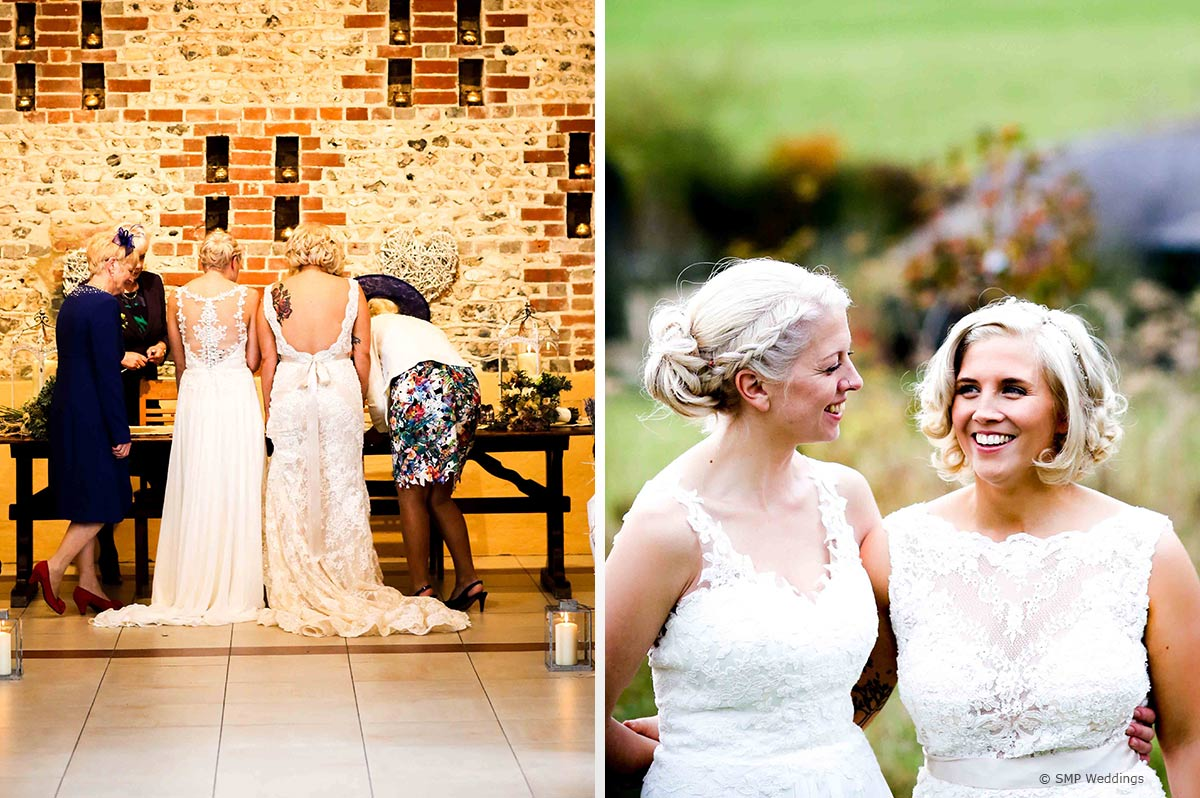 Dresses and hair at Hannah and Lauren's Upwaltham Barns Wedding © SMP Weddings