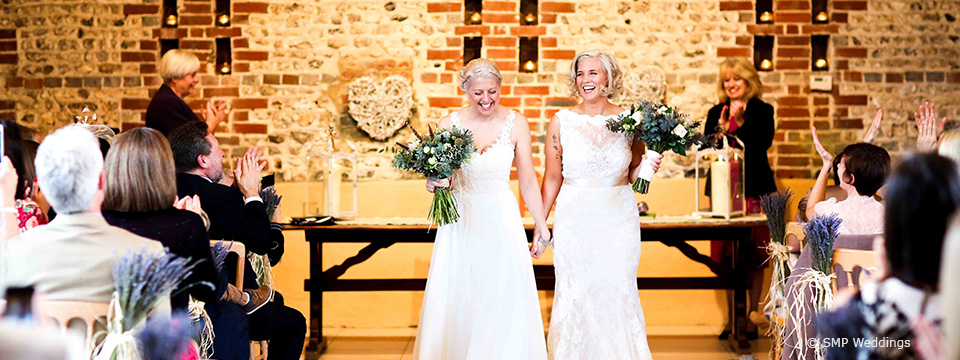 Hannah and Lauren's real life wedding at Upwaltham Barns in West Sussex