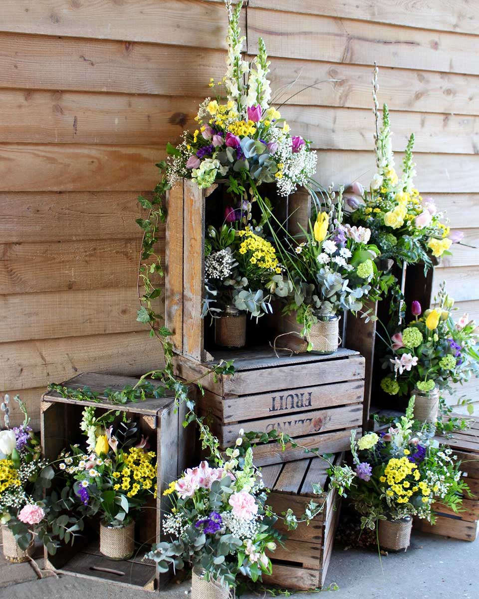 A herb garden is the perfect table plan for a country wedding venue like Upwaltham Barns