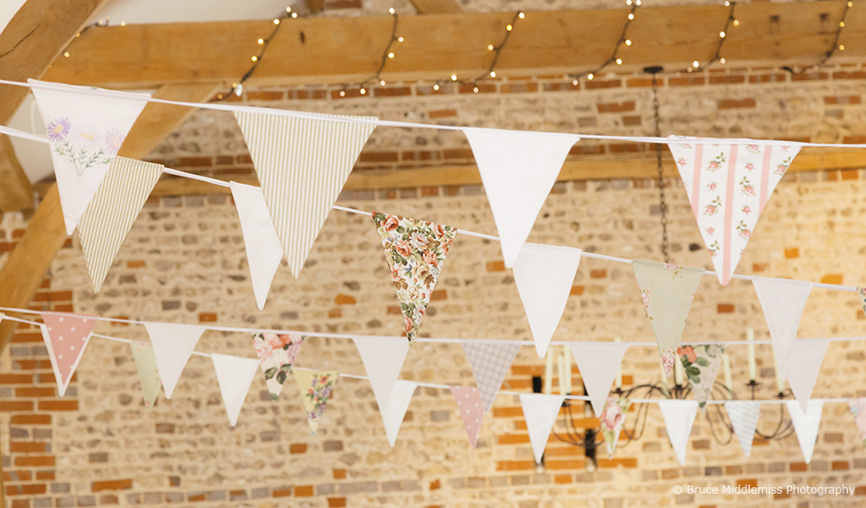 Bunting hanged up in Upwaltham Barns