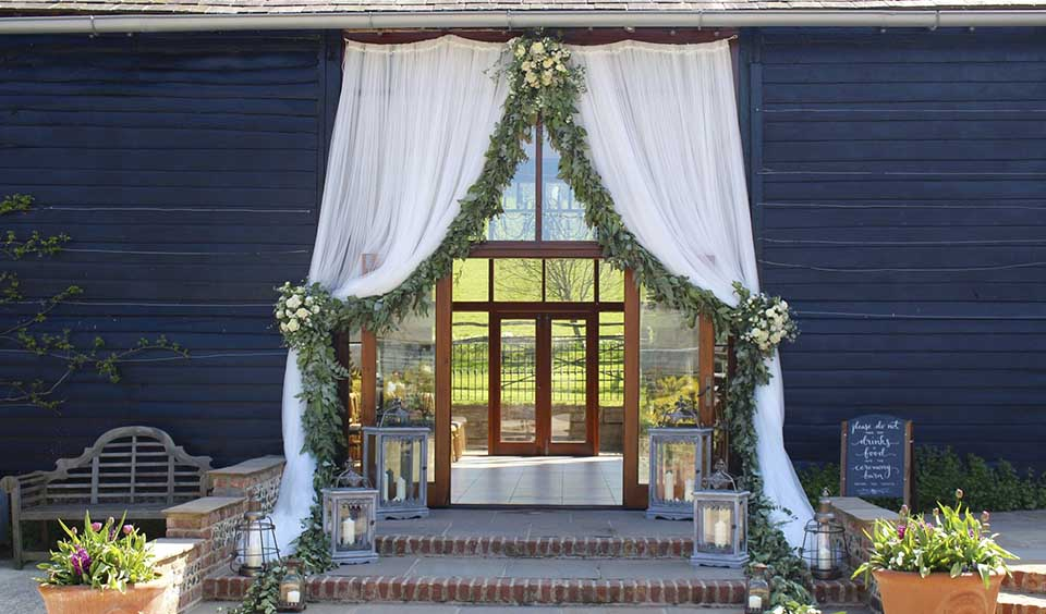 7. Drapes make this barn wedding venue in West Sussex even more romantic