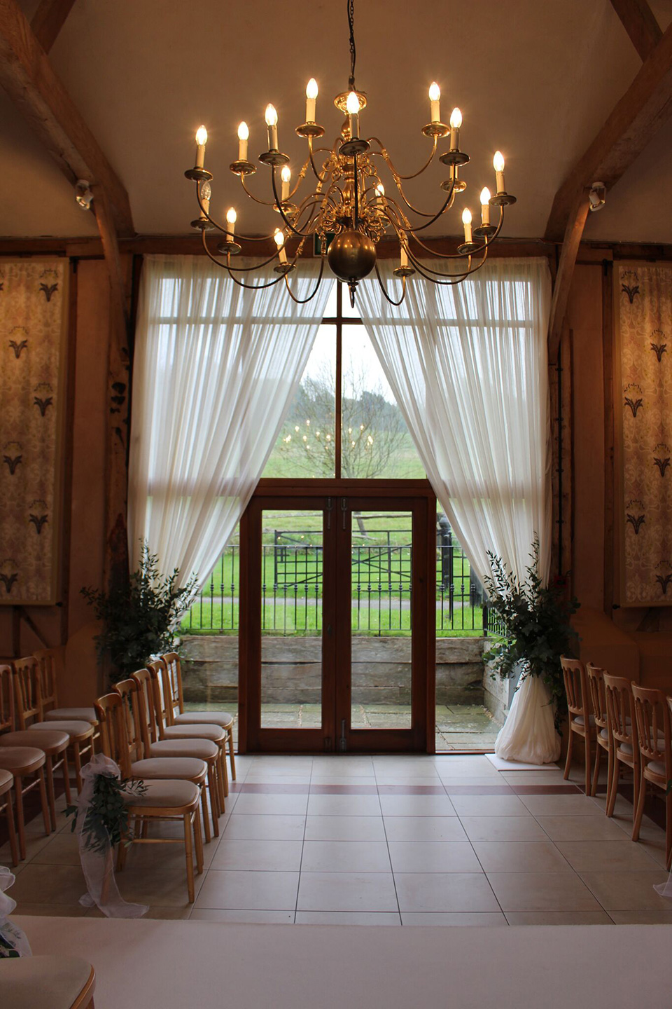 Inside or out, soft drapes bring an enchanting feel to this barn wedding venue. 8. Add a touch of vintage to your wedding decorations at Upwaltham Barns with