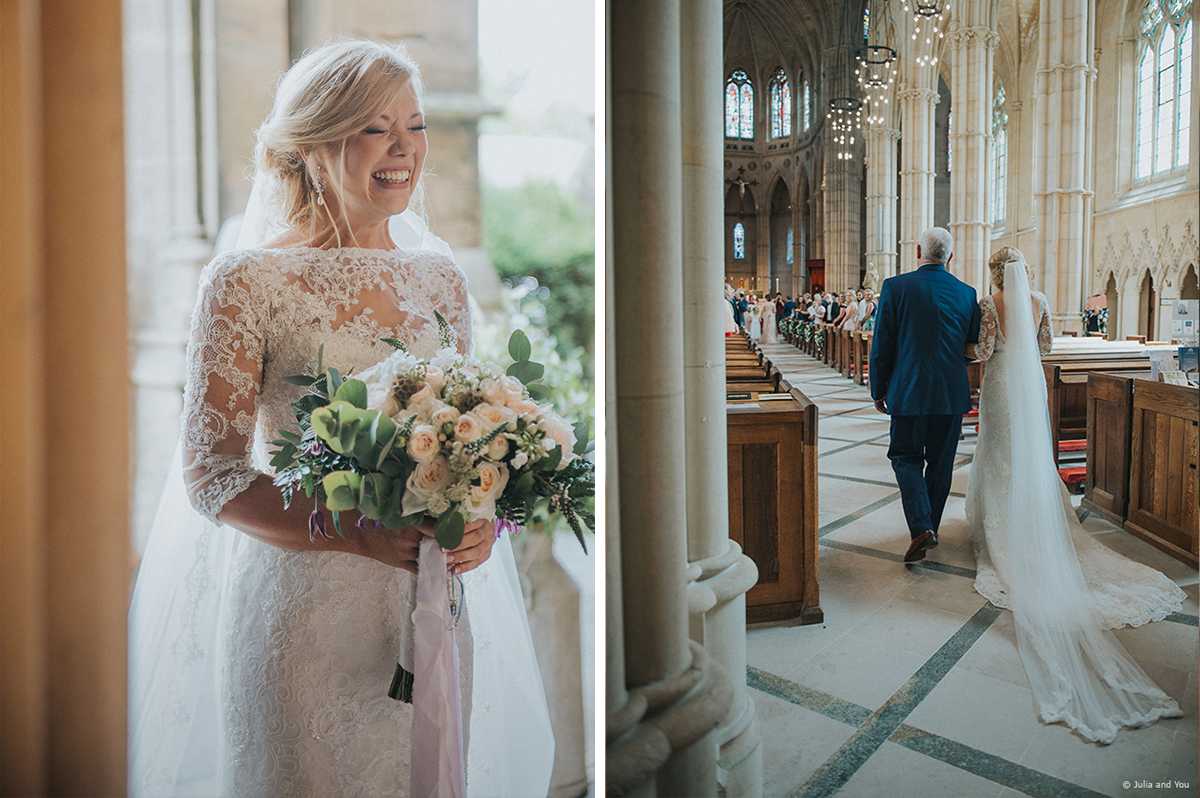 Walking down the aisle with her father by her side