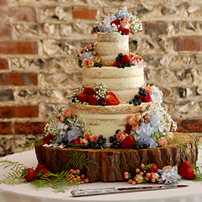 A naked wedding cake - rustic wedding cake ideas