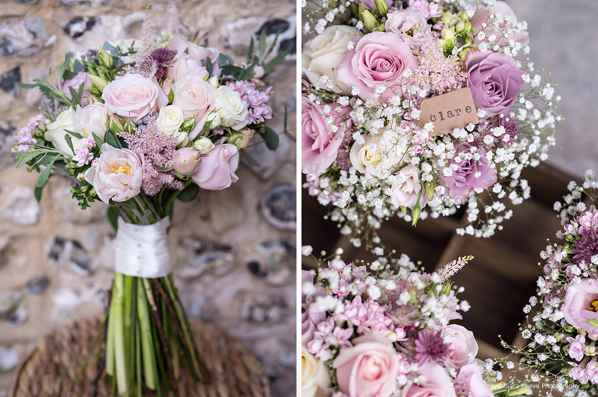 Dusty pink flowers and green foliage form the wedding bouquets for the bride and bridesmaids – spring flowers