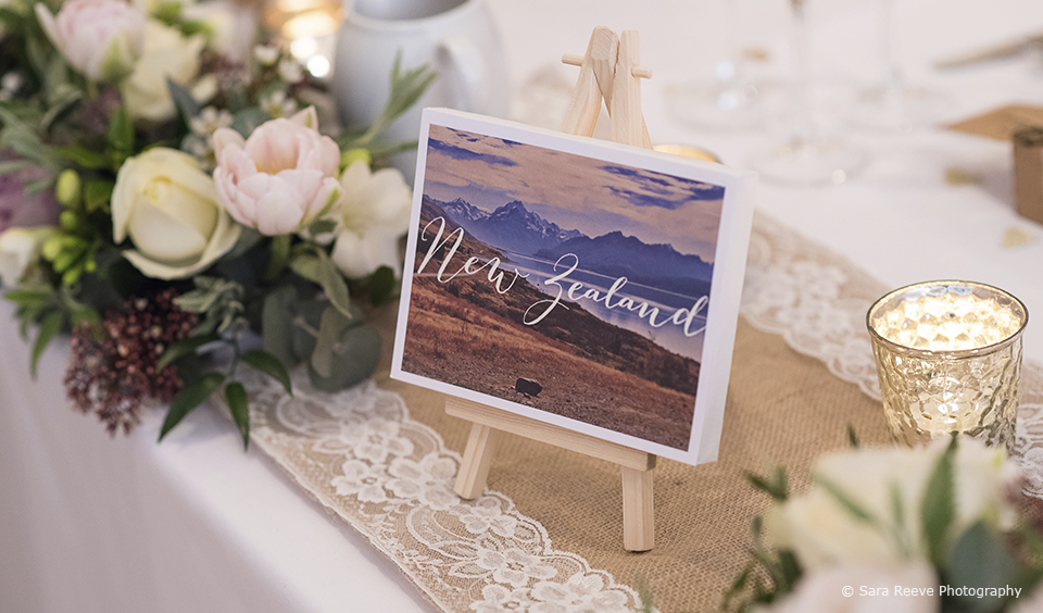 Simple travel themed table names sit on wooden easels amongst tealights and spring flowers