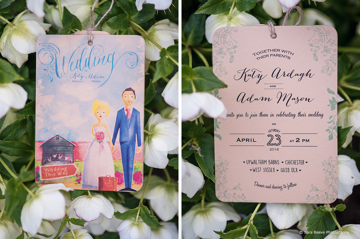 The wedding stationery included an illustrated image of the bride and groom