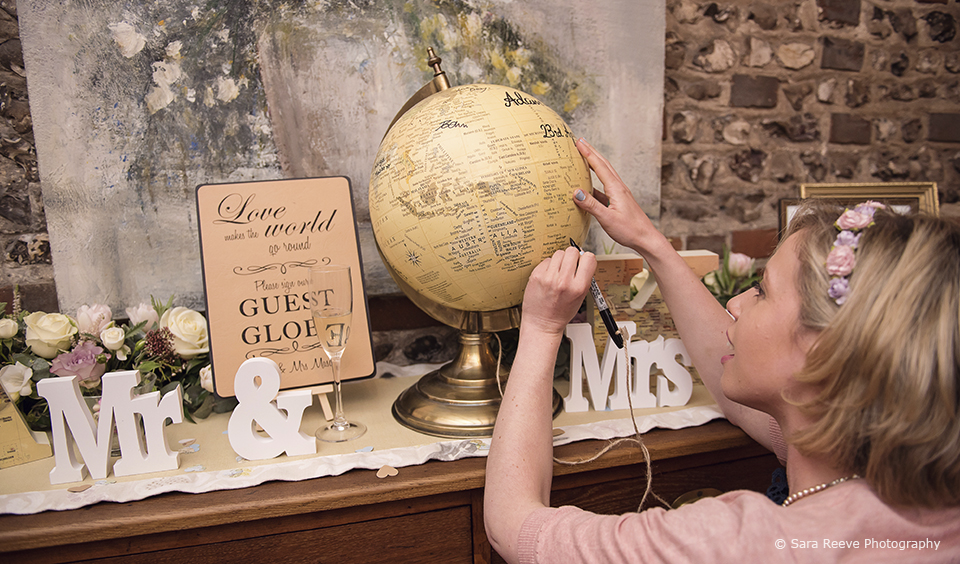 Guests were invited to sign a globe as an alternative to the traditional guest book – travel themed wedding