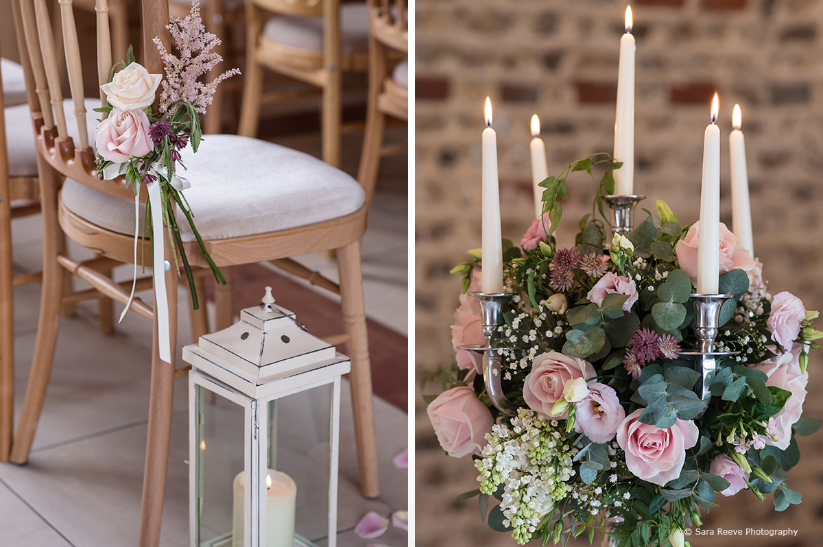 Romantic candlelit lanterns, floral arrangements and petals line the aisle for the wedding ceremony – wedding ideas