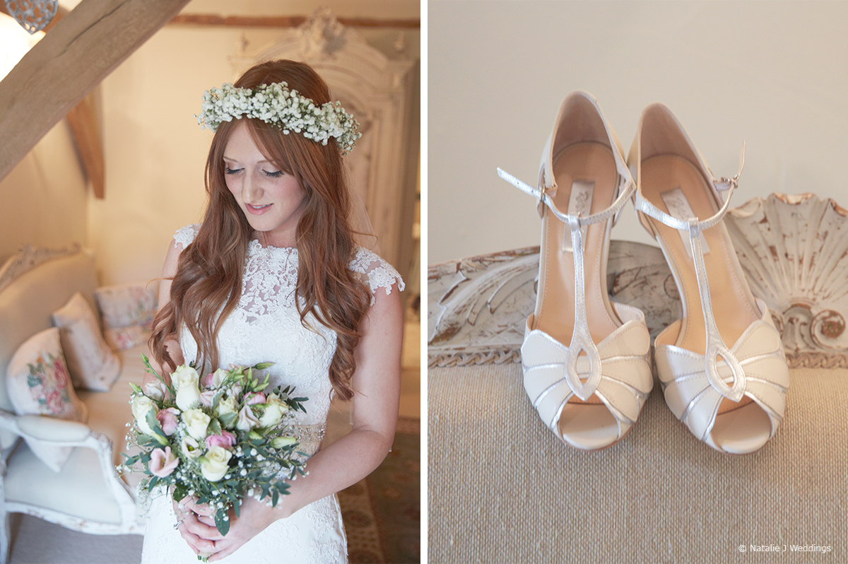 The bride accessorised her wedding dress with wedding shoes, a veil and a gypsophila garland