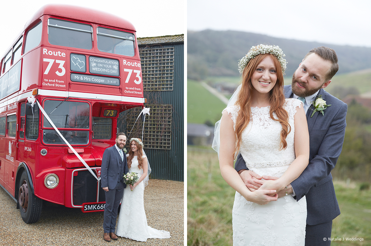 The newlyweds take a moment away from guests to enjoy their bright red vintage wedding bus