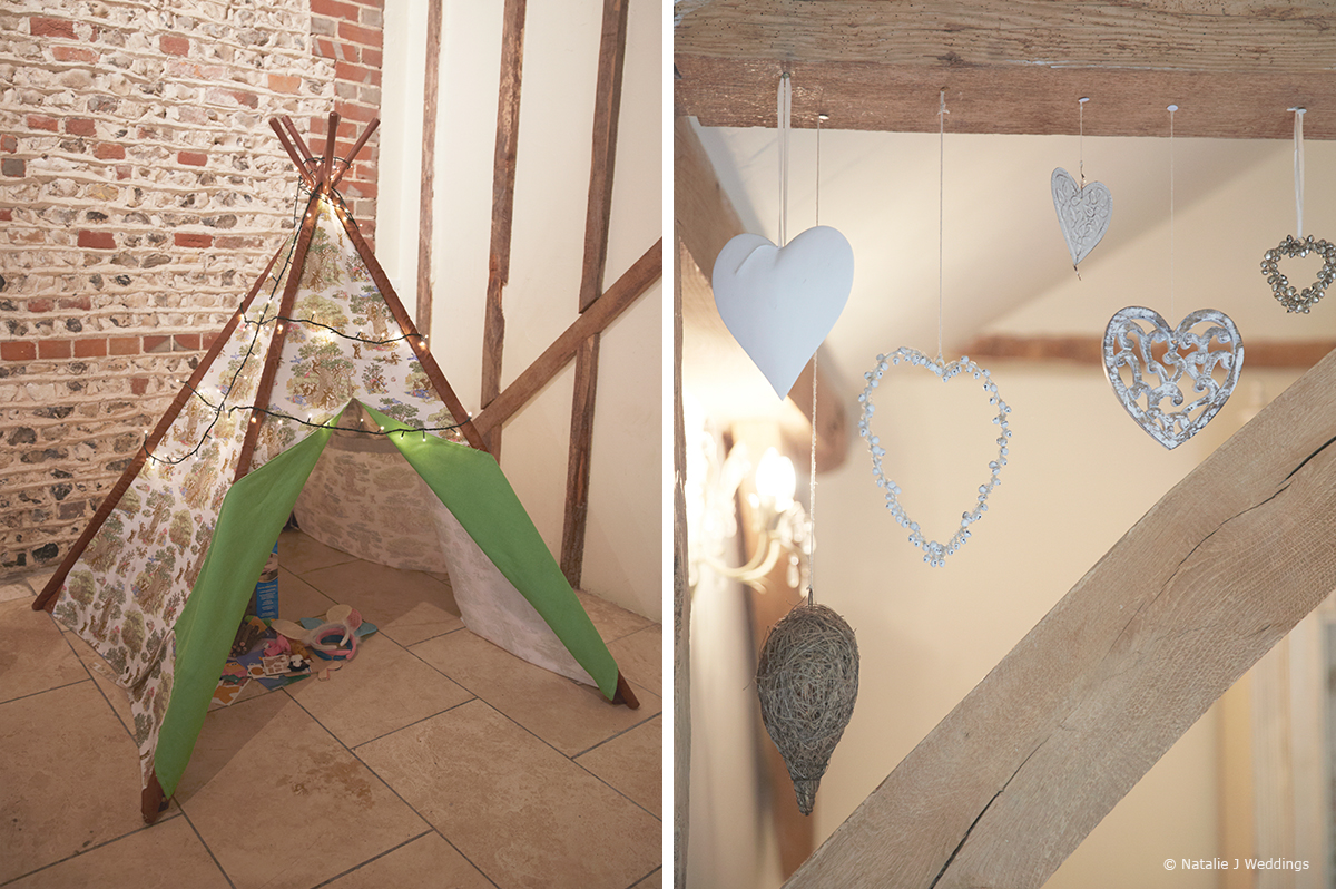 A children's tipi and a selection of love hearts add detail to the wedding at Upwaltham Barns – wedding ideas