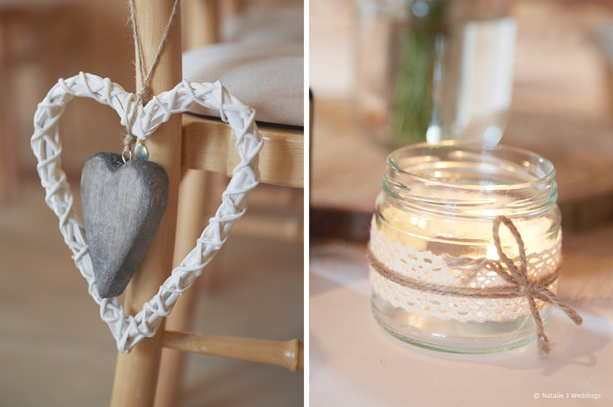 Candles and hearts create a beautiful setting for a romantic wedding at Upwaltham Barns in Sussex