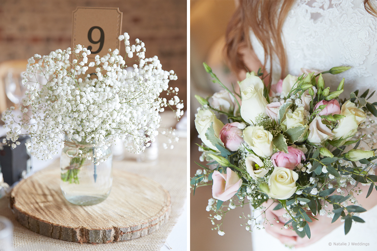 Wedding flowers of white roses, gypsophila and pink peonies add to the rustic barn wedding