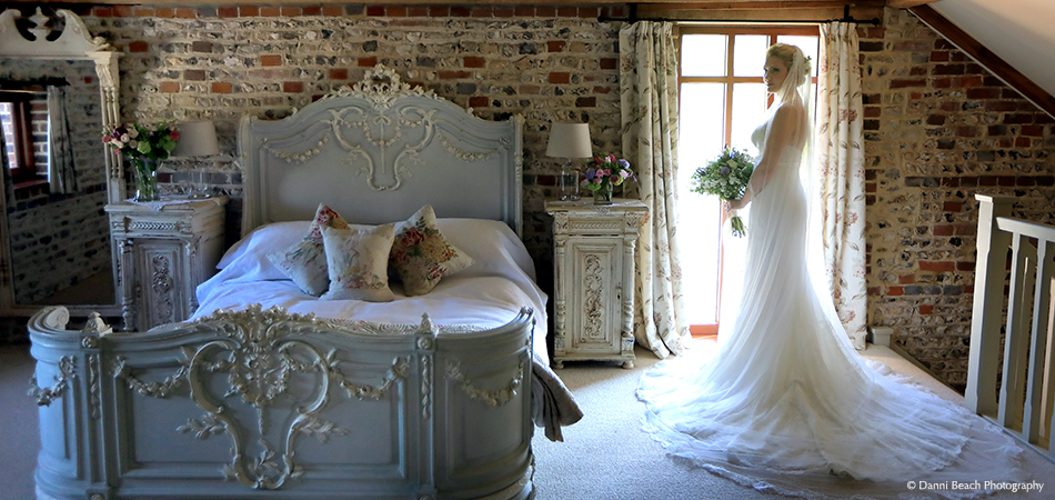 A bride prepares for her special day in Jasmine Cottage close to the wedding ceremony venue