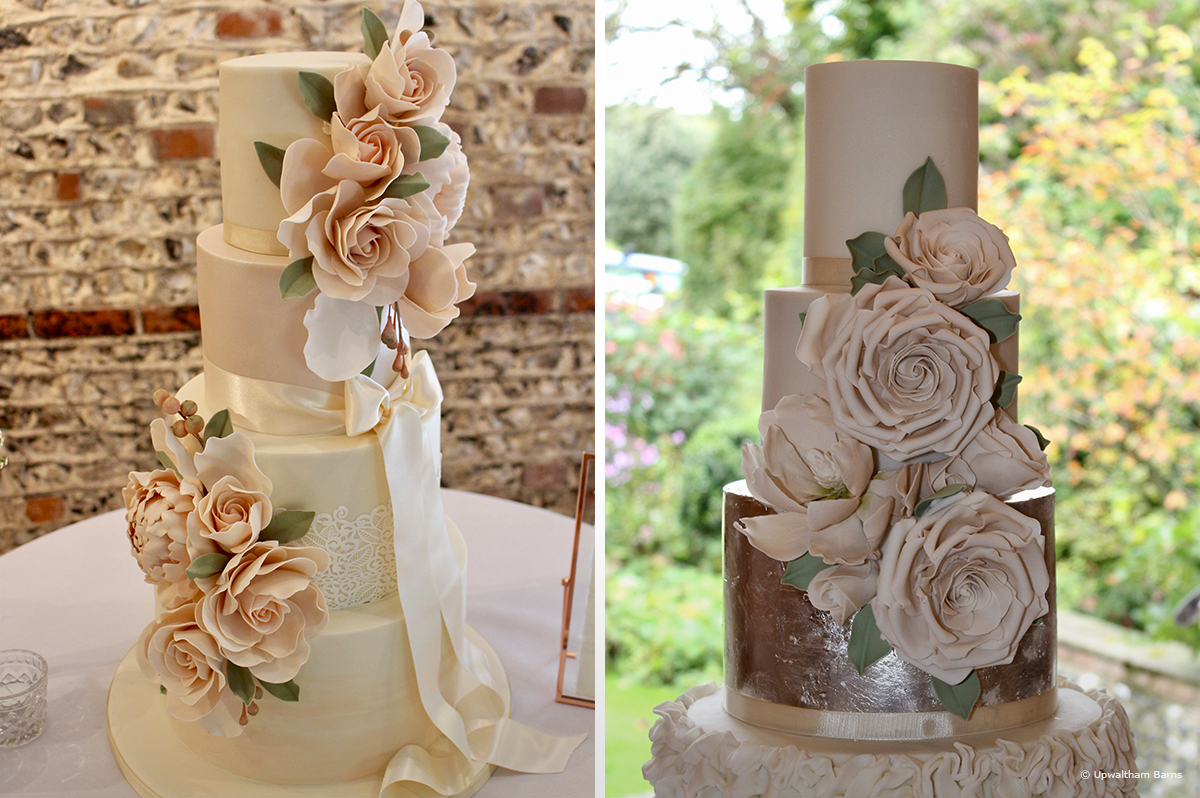 Traditional floral wedding cakes with four tiers