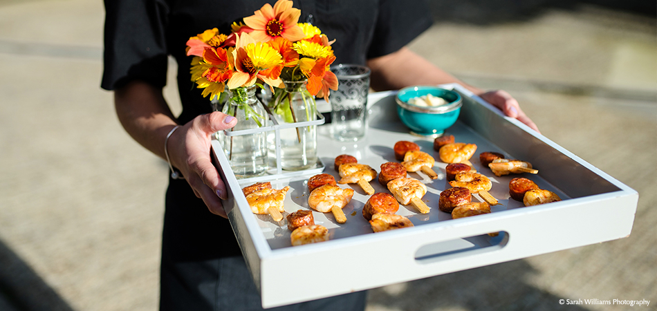A close up of delicious prawn and chorizo wedding canapes – wedding food