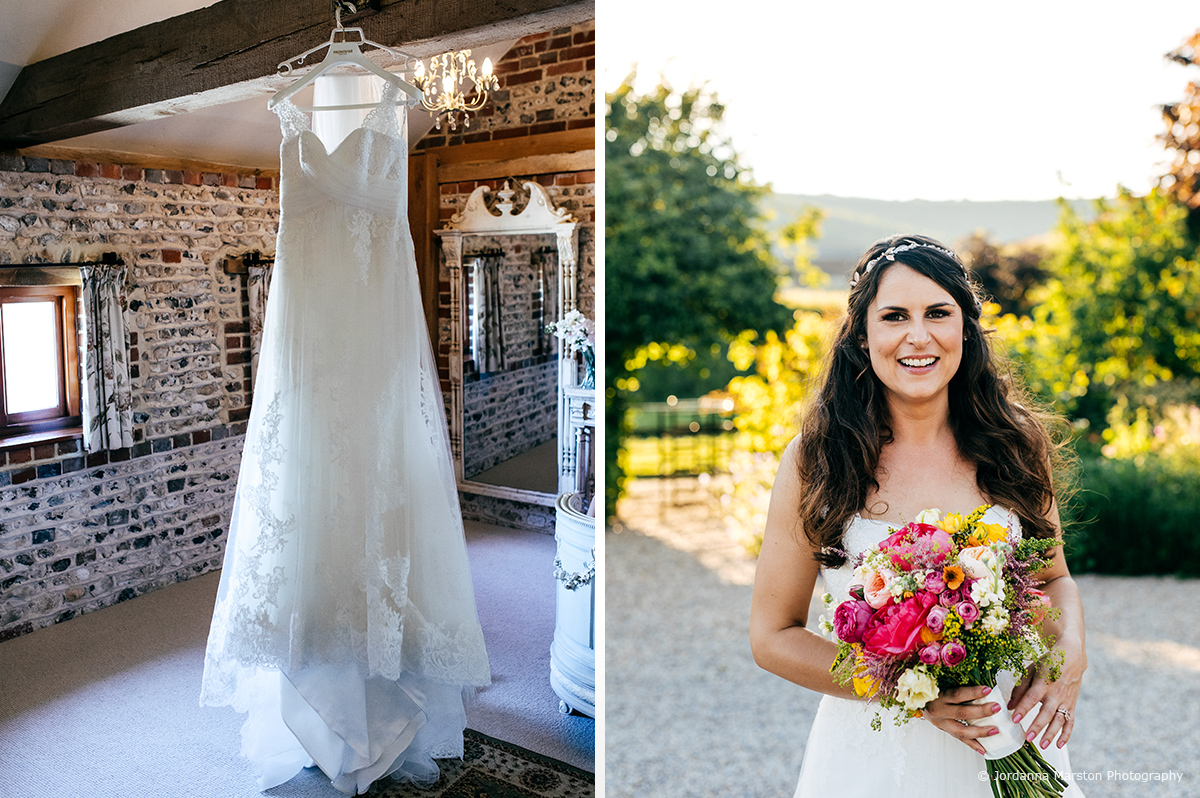 The bride looks stunning in her wedding dress before the wedding ceremony at Upwaltham Barns