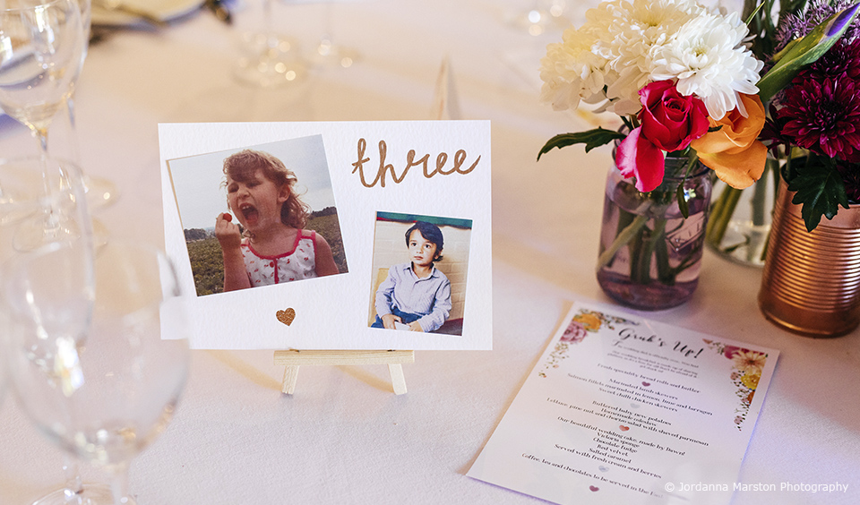 Use photos of you as children for wedding table names – wedding table name ideas