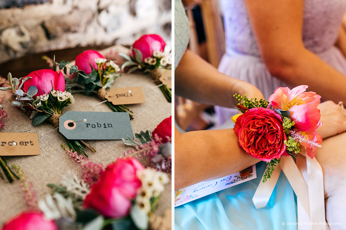 Vibrant pink roses and pink peony's looked stunning as wedding buttonholes and corsages – wedding ideas