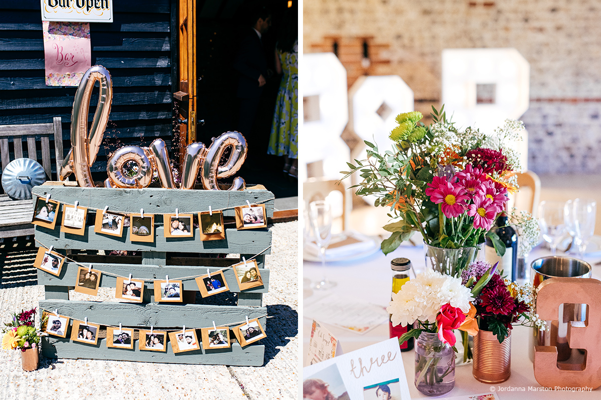 Wedding details including photos of the couple created a rustic look for this summer wedding at Upwaltham Barns