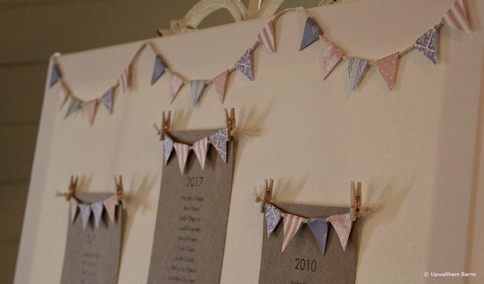 For added detail at a rustic wedding add miniature bunting to your seating plan– wedding ideas